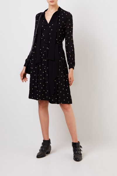 Steffen Schraut Midi dress with star embroidery black