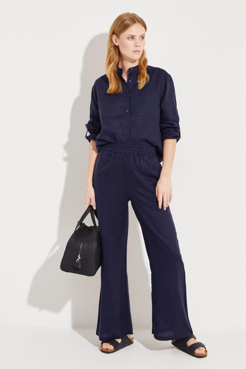 Linen Pants Navy Blue