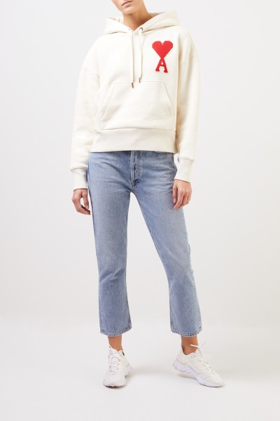 Ami Hoodie with embroidery Ecru