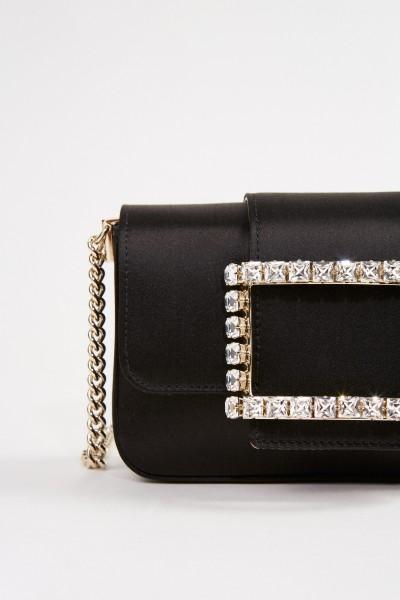 Roger Vivier Satin shoulder bag 'Tres Vivier' with strass buckle Black