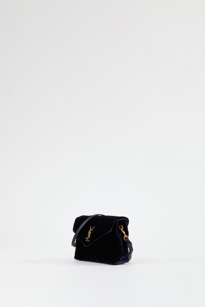 Saint Laurent Shoulder bag 'Pouche Monogramm' velvet Navy Blue