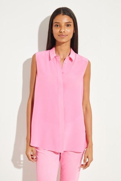 Kurzarm Seiden-Bluse Pink