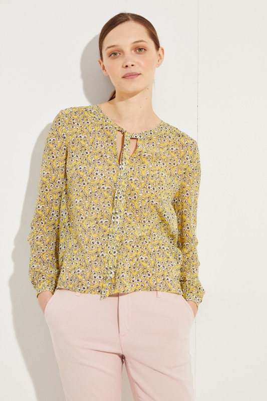 Seidenbluse 'Alma' mit floralem Print Gelb/Multi