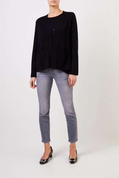 Wool cardigan with v-neck Black