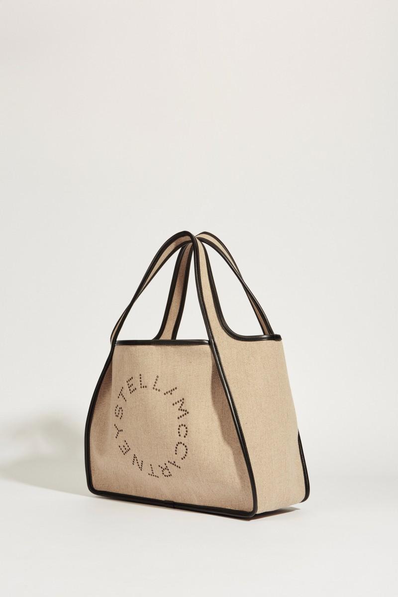 Shopper 'Tote' mit Logo Beige/Schwarz