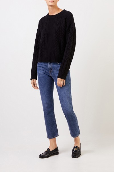Cashmere pullover with cable stitch Black