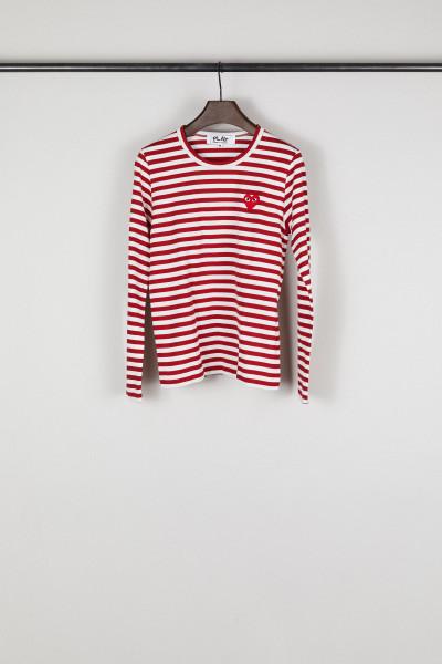 Gestreiftes Longsleeve Rot/Weiß