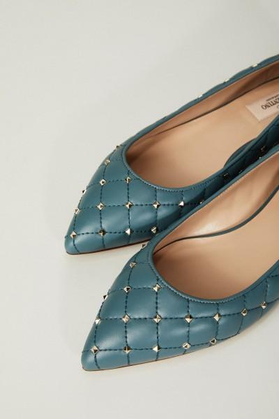 Flats 'Rockstud' mit Nietenbesatz Blaugrün