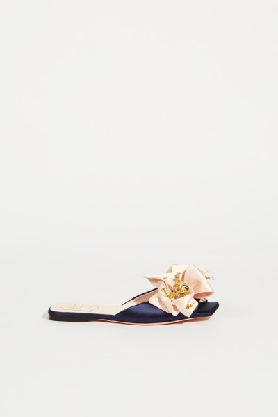 Mules with decoration 'VIV Fireflower' Navy blue/Rosé