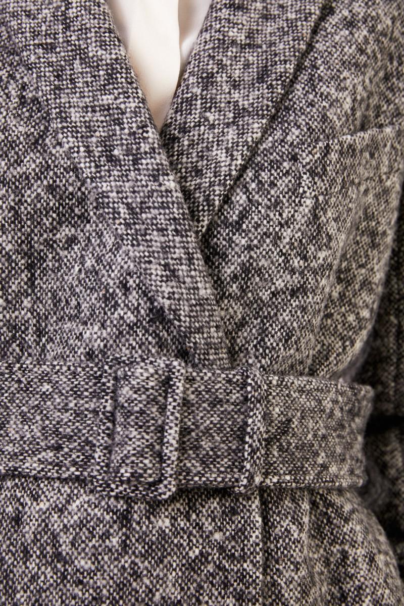 Stella McCartney Langer Woll-Mantel mit Gürtel Schwarz/Grau