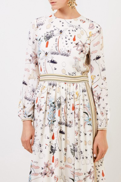 Tory Burch Maxi silk dress with print Cream/Multi