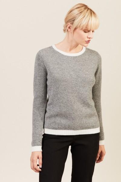 O-Neck Cashmere-Pullover Grau