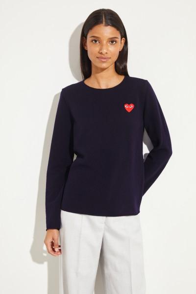 Woll-Pullover mit Herz-Emblem Marineblau
