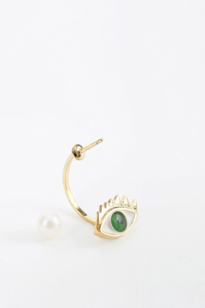 Delfina Delettrez Earring with pearl 'Eye' Gold/Green