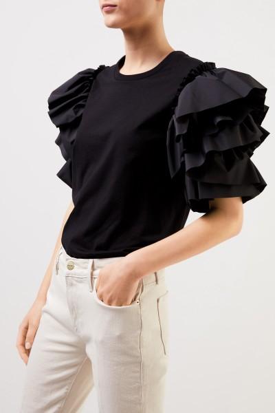 Alexander McQueen Baumwoll-Shirt mit Volantärmeln Schwarz