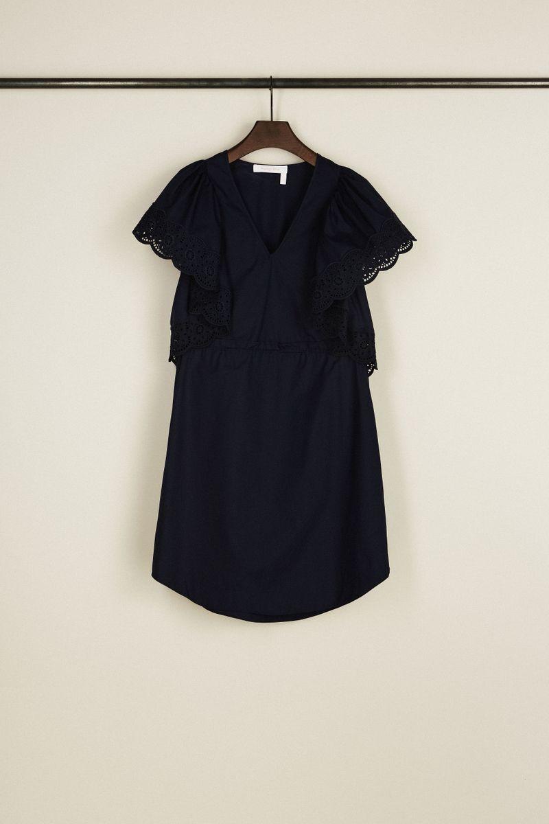 Baumwoll-Kleid mit Lochspitze Dunkelblau