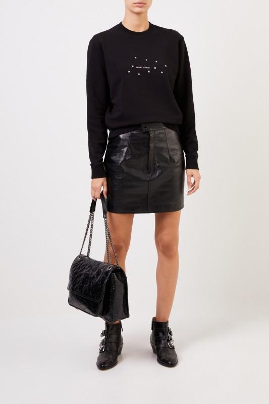 Saint Laurent Sweatshirt mit Logo-Aufdruck Schwarz