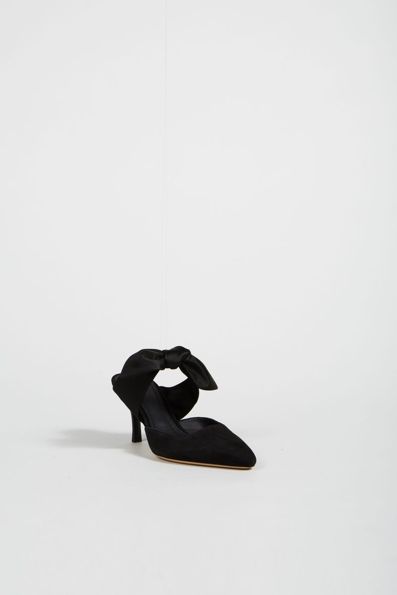 Mule 'Coco 75' aus Veloursleder Schwarz