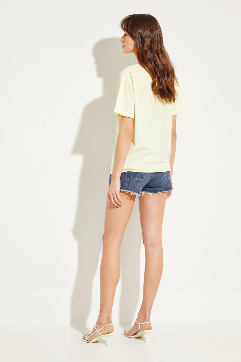 Baumwoll-Shirt mit Logo-Schriftzug Gelb