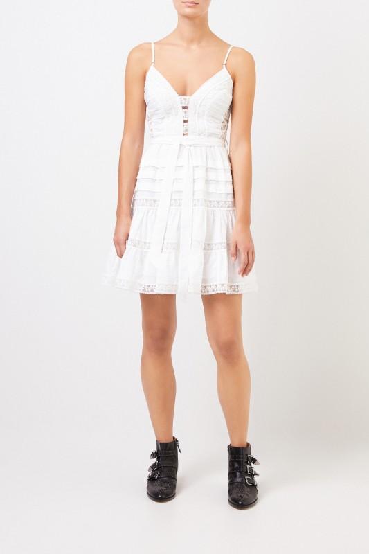 weltweit verkauft am besten verkaufen unschlagbarer Preis Kurzes Baumwoll-Kleid mit Spitze Weiß