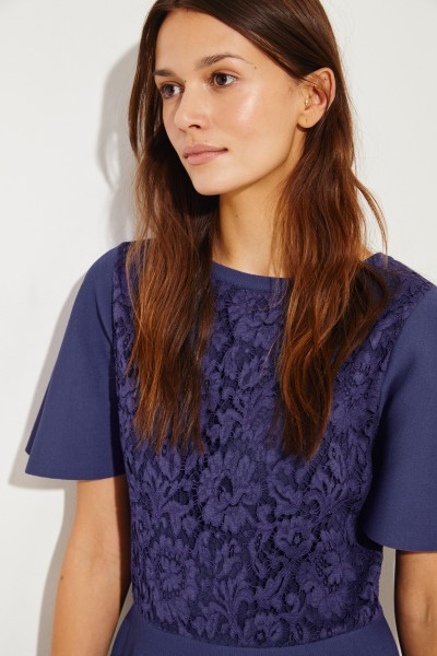 Valentino Knitted dress with lace Blue