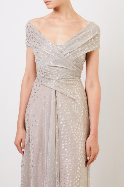 Talbot Runhof Long evening dress with dots Silver/Gold