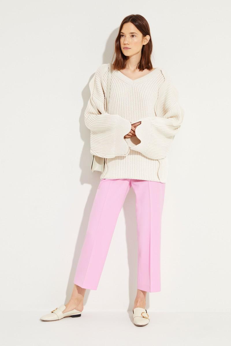 Pullover mit Muschelsäumen Crème