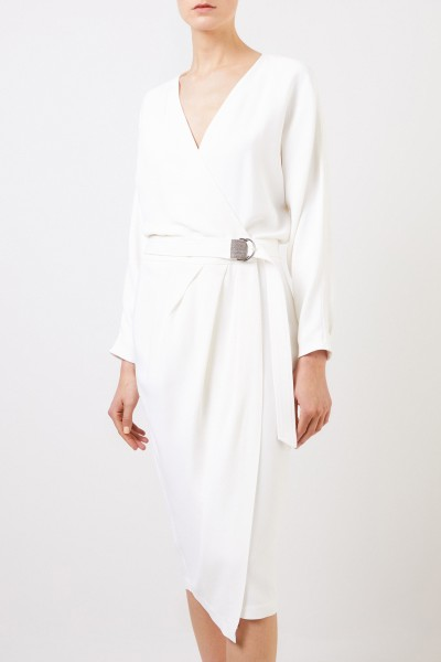 Brunello Cucinelli Wrap dress with binding detail White