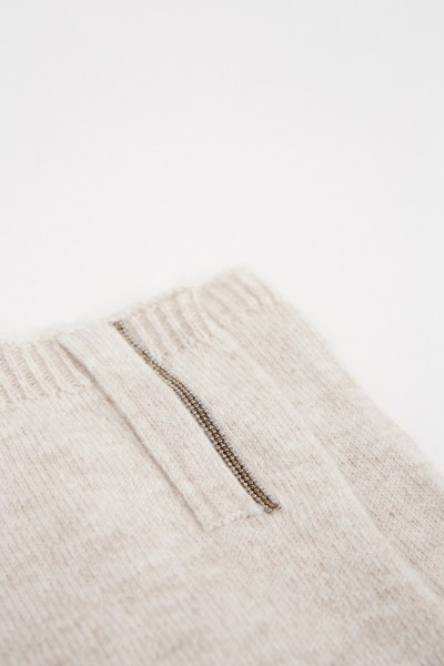 Brunello Cucinelli Cashmere-Handschuhe mit Perlen-Details Beige