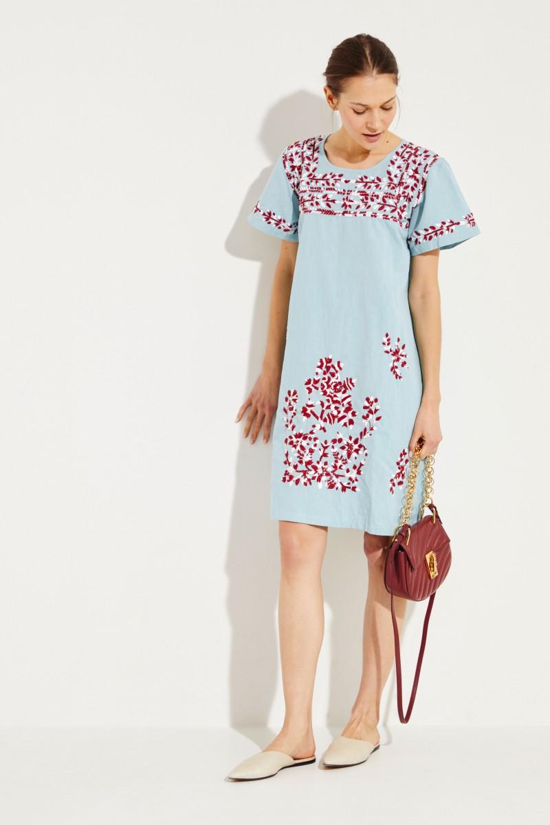 801f2f2254e Cotton-Linen-Dress with embroidery  San Pedro  Blue