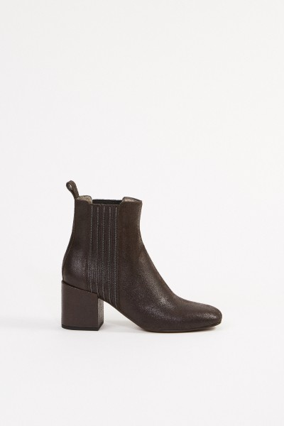 Brunello Cucinelli Leather ankle boot with pearl decoration Brown