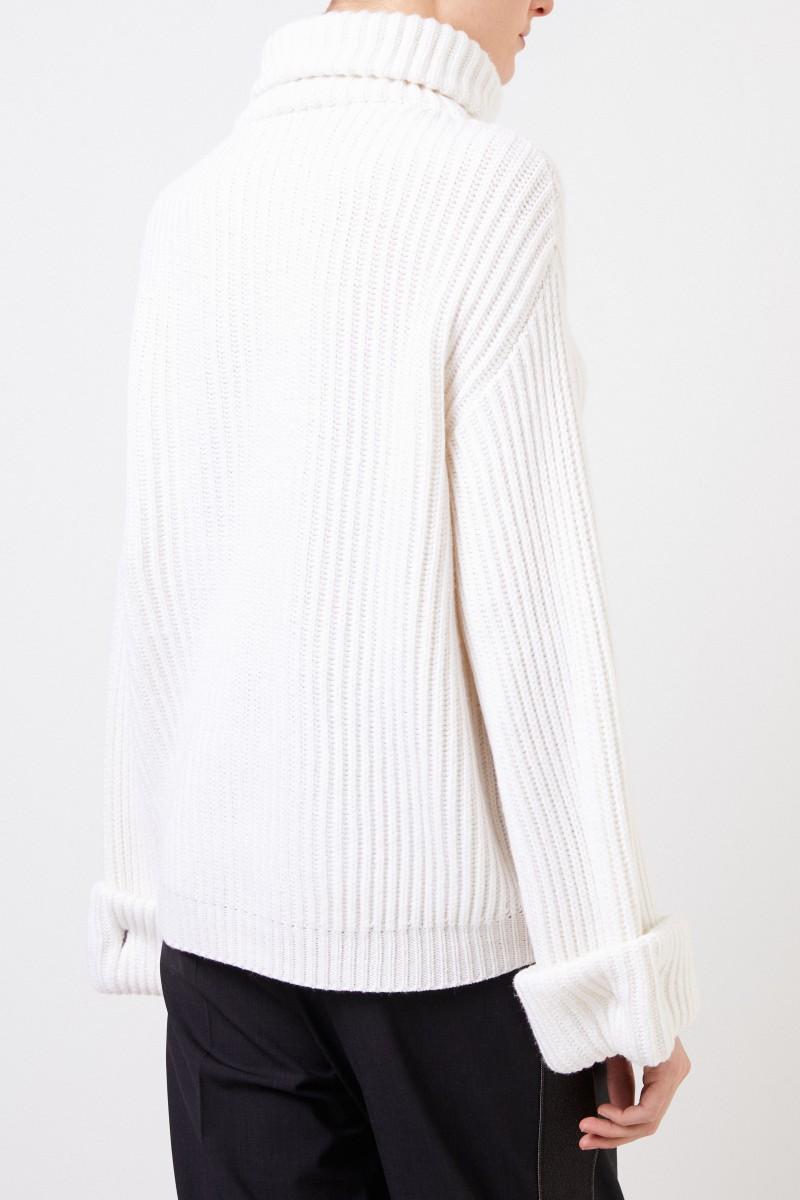 Brunello Cucinelli Cashmere-Rollkragepullover mit Verzierung Weiß