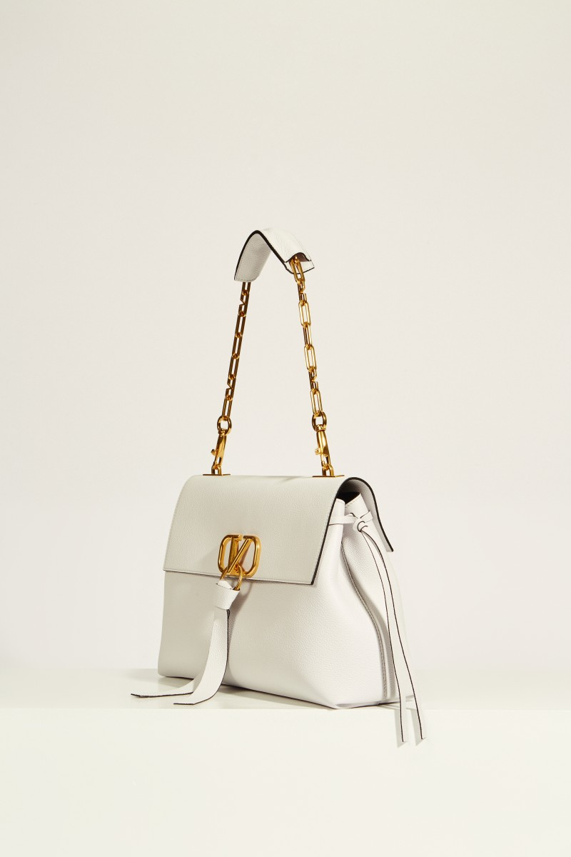 Leder-Tasche 'Vring' mit Kettenriemen Weiß