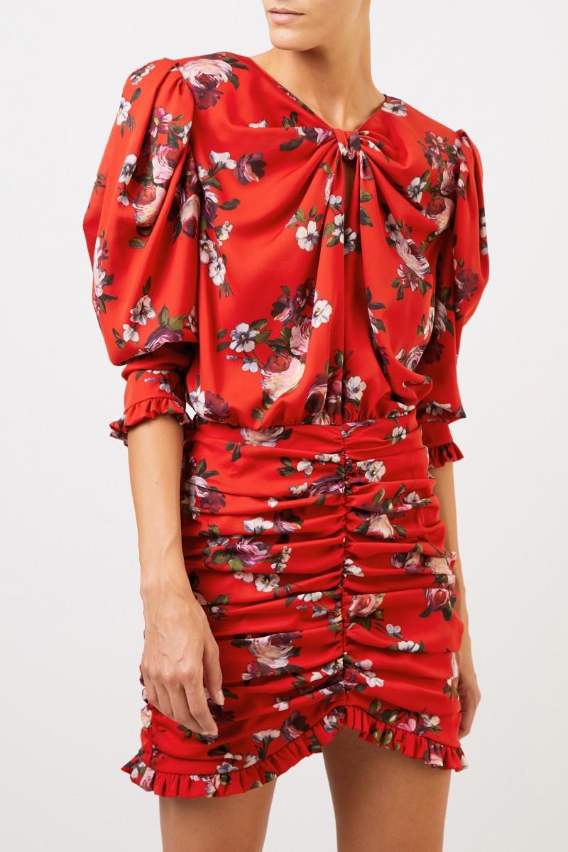 Magda Butrym Seidenkleid 'Barletta' mit floralem Print Rot/Multi