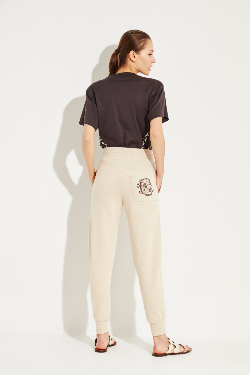 Wool pants with emblem Angora Beige
