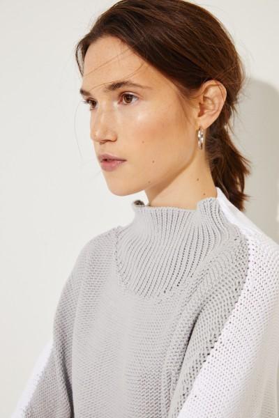Baumwoll-Pullover Weiß/Grau