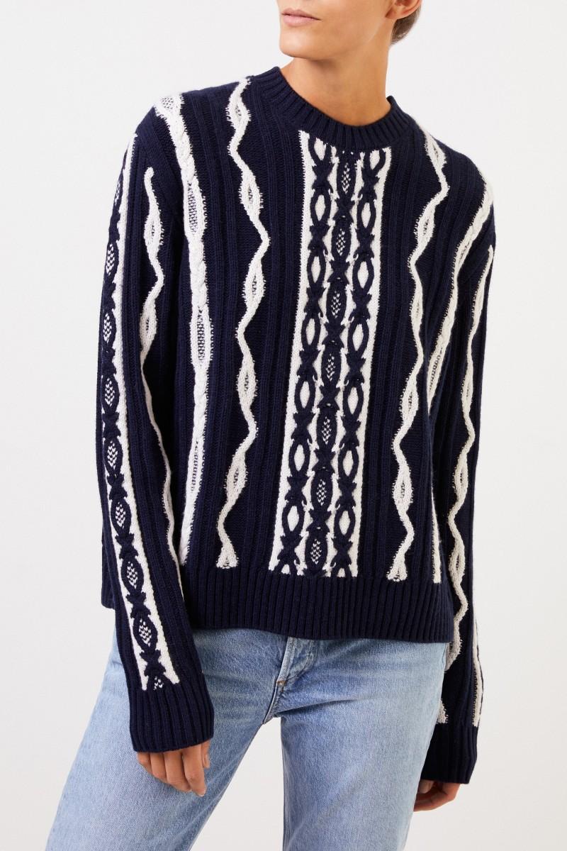 UZWEI Woll-Cashmere-Pullover mit Intarsienmuster Marineblau/Weiß