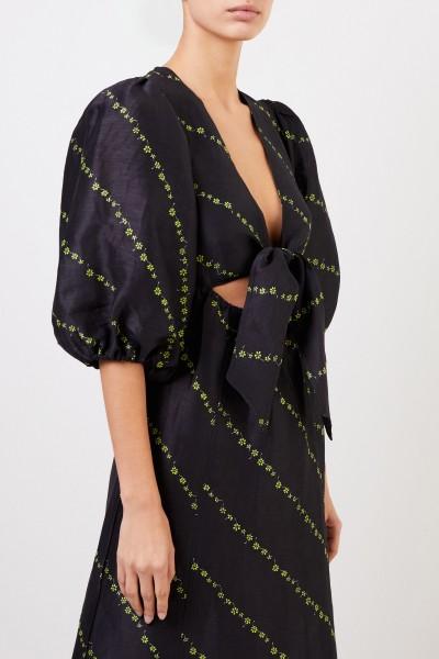 Ganni Silk linen midi dress Black