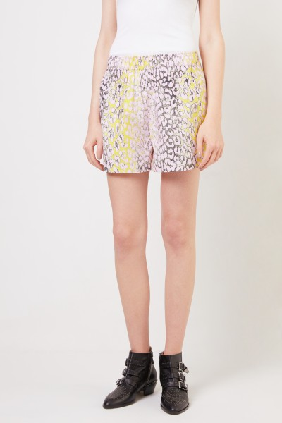 Ganni Cotton shorts with leoprint Violet/Yellow