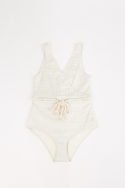 Seersucker bathing suit 'Yasmin' Cream/Silver