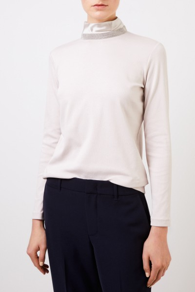 Fabiana Filippi Cotton-longsleeve with pearl decoration Beige