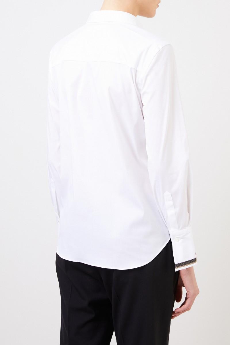 Brunello Cucinelli Baumwoll-Bluse mit Perlenverzierung Weiß
