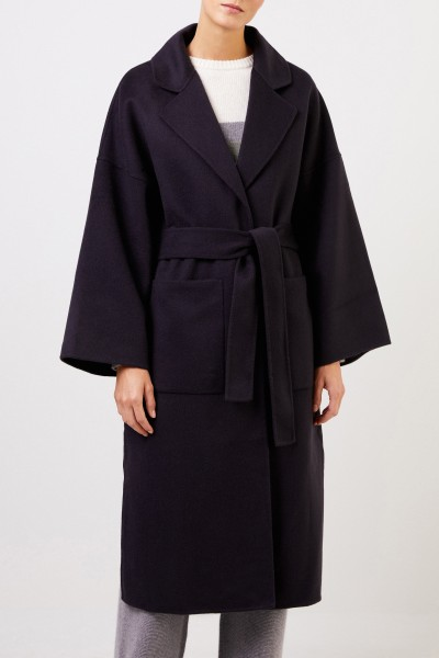 Uzwei Doubleface cashmere coat with belt Navy Blue