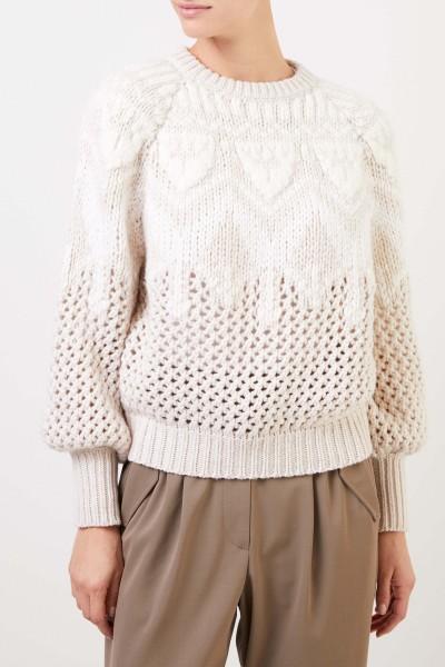 Brunello Cucinelli Cashmere silk pullover with net structure Cream