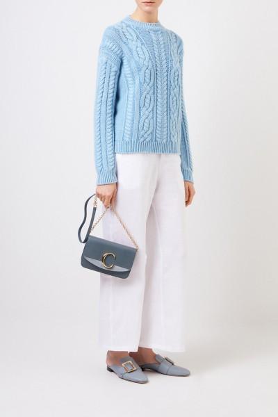 Cashmere-Pullover 'Fadilla' mit Strickmuster Blau