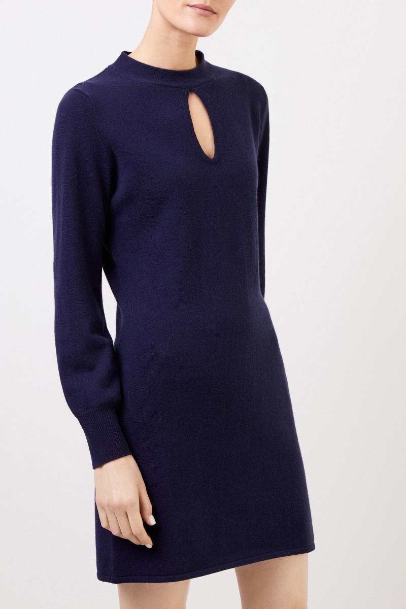Woll-Cashmere Strickkleid mit Schlitz-Detail Marineblau