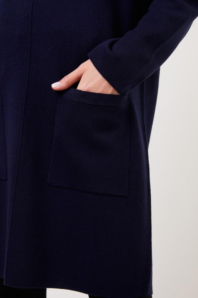 Allude Klassisches Woll Strickkleid Marineblau