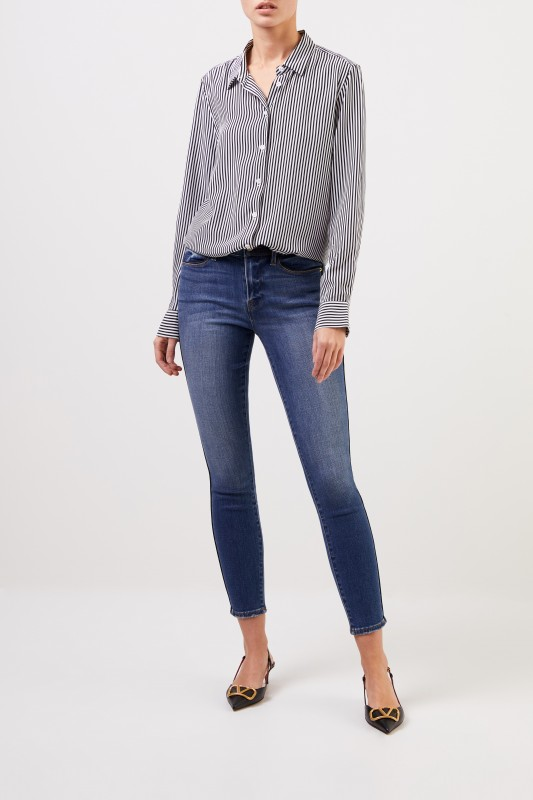 Frame Skinny-Jeans 'Le High Skinny' mit Detail Blau