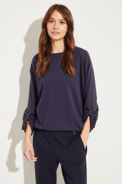 Cashmere-Pullover mit Bindedetails Blau