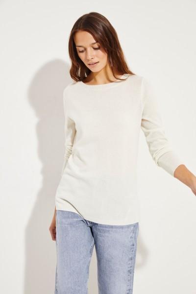Klassischer Cashmere-Pullover Crème